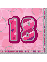 Birthday Glitz Pink - 18th Birthday - Luncheon Napkins