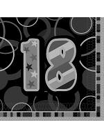 Birthday Glitz Black & Silver 18th Birthday - Luncheon Napkins