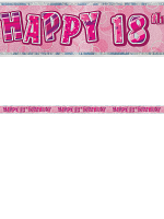 Birthday Glitz Pink 18th Birthday Prism Banner