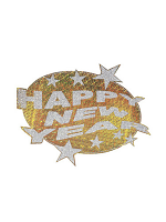 Happy New Year Holographic & Glitter Cutout Decoration