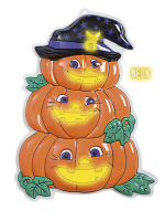 3D Neon Pumpkin Trio With Hat