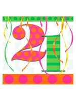 21st Balloon Bright Birthday Party Napkins
