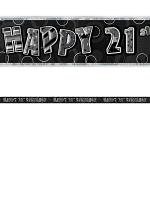 Birthday Glitz Black & Silver 21th Birthday Prism Banner