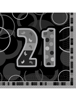 Birthday Glitz Black & Silver 21th Birthday - Luncheon Napkins