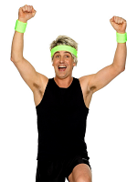 80's Sweatbands Green 1 x Headband 2 x Wristbands