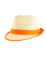 Straw Fedora Hat with Neon Orange Trim