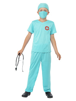 Surgeon Costume, Blue, Top, Trousers, Hat, Mask & Stethoscope