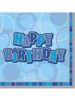 Birthday Glitz Blue - Happy Birthday - Luncheon Napkins