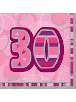Birthday Glitz Pink - 30th Birthday - Luncheon Napkins