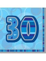 Birthday Glitz Blue - 30th Birthday - Luncheon Napkins