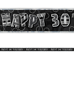 Birthday Glitz Black & Silver 30th Birthday Prism Banner