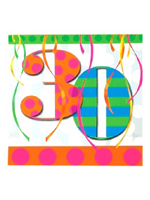 30th Balloon Bright Birthday Party Napkins