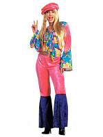 HIPPIE LADIES COSTUME VELVET (SHIRT PANTS HAT)
