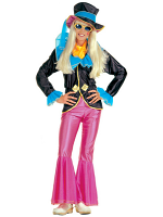 HIPPIE GIRL COSTUME (JACKET PANTS HAT SCARF)