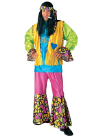 HIPPIE BOY COSTUME (SHIRT VEST PANTS HEADBAND)