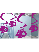 40 Hanging Swirl Decoration Pink Pack of 5