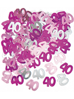 Birthday Glitz Pink - 40th Birthday Confetti