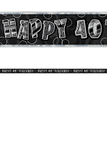 Birthday Glitz Black & Silver 40th Birthday Prism Banner