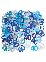 Birthday Glitz Blue - 40th Birthday Confetti