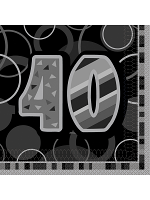 Birthday Glitz Black & Silver 40th Birthday - Luncheon Napkins
