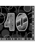 Birthday Glitz Black & Silver 40th Birthday - Luncheon Napkins