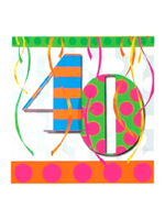 40th Balloon Bright Birthday Party Napkins