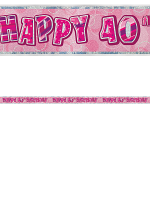 Birthday Glitz Pink 40th Birthday Prism Banner