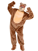 Plush Teddy Bear Costume (Costume Gloves Shoe Covers Mask)