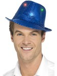 Flashing Sequin Gangster Hat - Blue