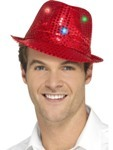 Flashing Sequin Gangster Hat - Red