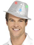 Flashing Sequin Gangster Hat - Silver