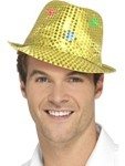 Flashing Sequin Gangster Hat - Gold
