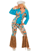 HIPPIE WOMAN BLUE VELVET (SHIRT VEST BELT PANTS HAT)