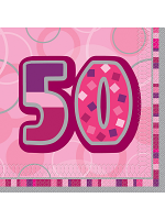 Birthday Glitz Pink - 50th Birthday - Luncheon Napkins