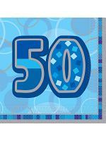 Birthday Glitz Blue - 50th Birthday - Luncheon Napkins
