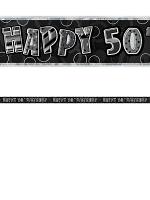 Birthday Glitz Black & Silver 50th Birthday Prism Banner