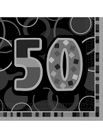 Birthday Glitz Black & Silver 50th Birthday - Luncheon Napkins