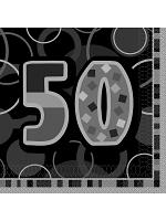Birthday Glitz Black & Silver 50th Birthday - Luncheon Napkins