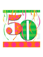50th Balloon Bright Birthday Party Napkins