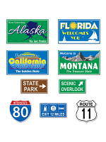 Travel America Road Sign Cutouts