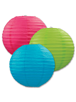 Paper Lanterns (Pack Of 3) - Blue, Green & Pink