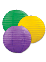 Paper Lanterns (Pack Of 3) - Purple, Yellow & Green
