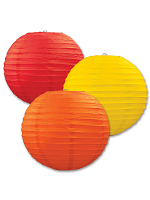 Paper Lanterns (Pack Of 3) - Orange, Yellow & Red