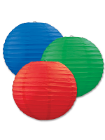 Paper Lanterns (Pack Of 3) - Blue, Green & Red