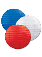 Paper Lanterns (Pack Of 3) - Red, White & Blue