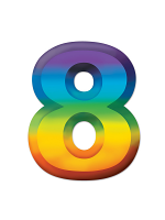 Multi-Color Plastic 3-D Number  8