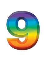 Multi-Color Plastic 3-D Number  9