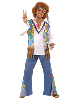 WOODSTOCK HIPPIE MAN (SHIRT W/VEST PANTS HEADBAND)