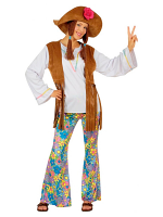 WOODSTOCK HIPPIE WOMAN (SHIRT W/VEST PANTS HAT W/HAIR)