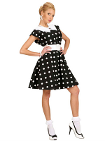 50S LADY - BLACK (DRESS W/PETTICOAT BELT)